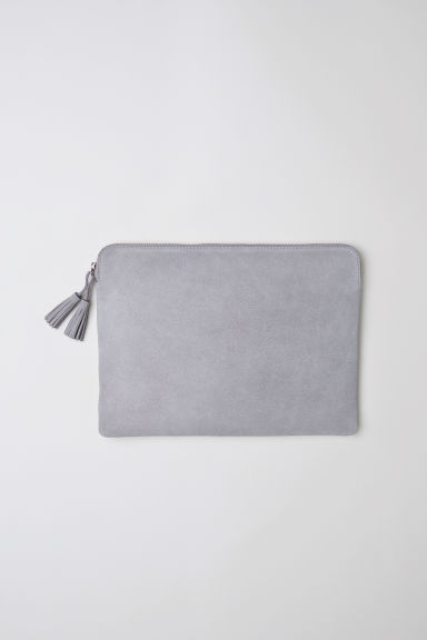 "Suede laptop case 13"" - Light grey -  