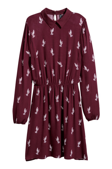 Patterned viscose dress - Burgundy/Birds -  | H&M
