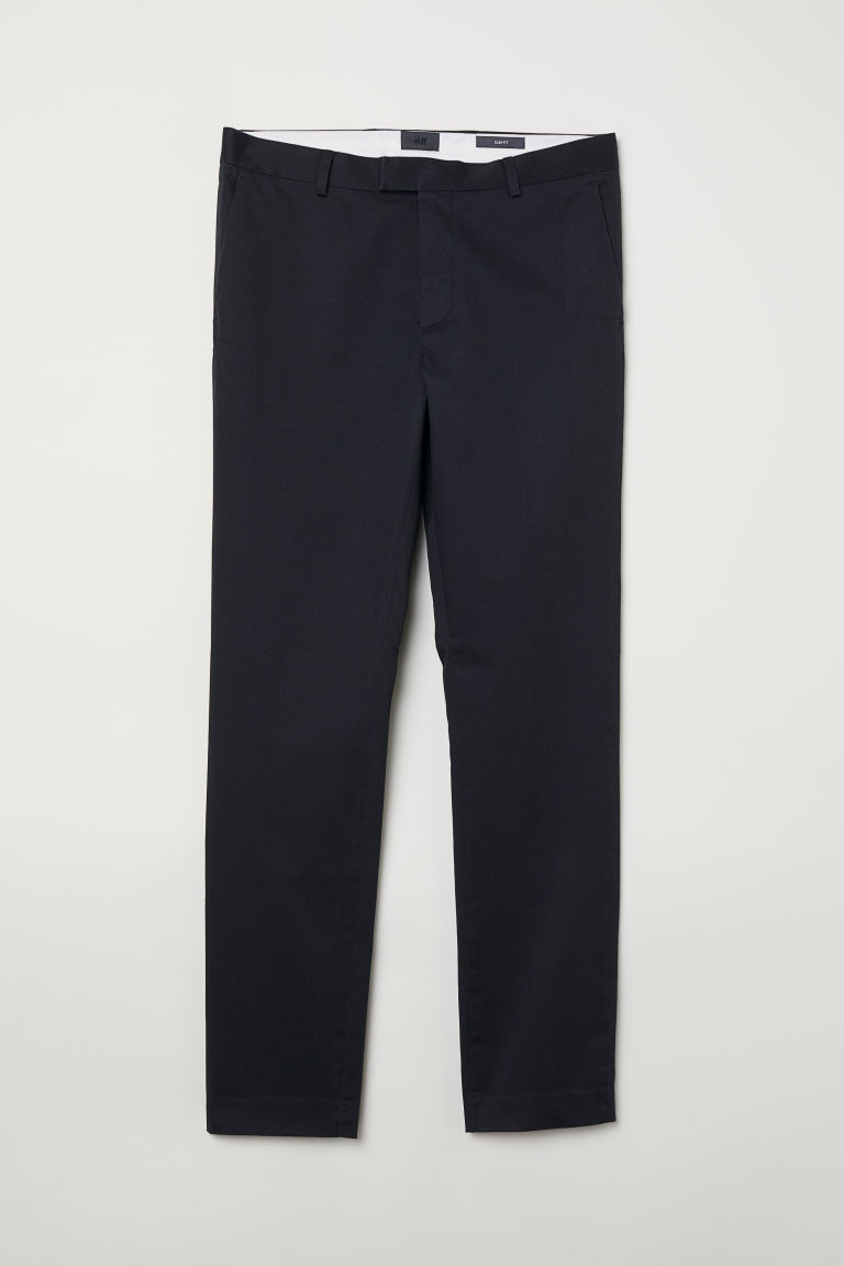 Cotton chinos Slim Fit - Anthracite grey - Men | H&M