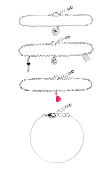 4-pack bracelets - Silver-coloured - Ladies | H&M