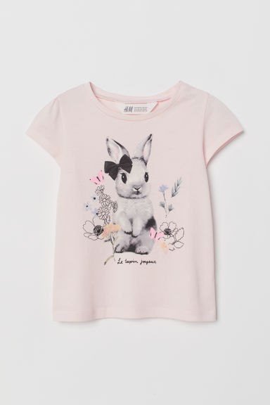 Printed jersey top - Light pink/Rabbit - Kids | H&M GB