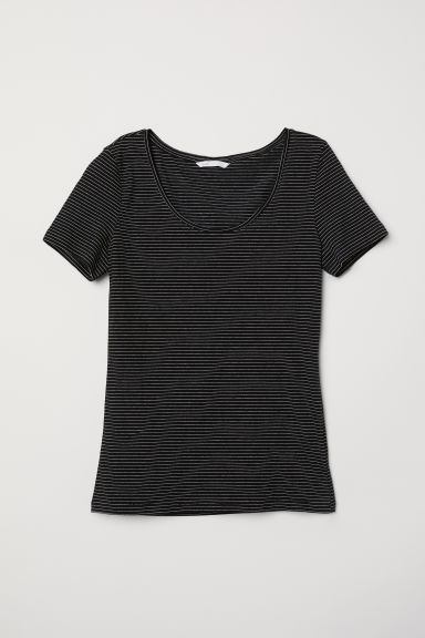 Jersey top - Black/White striped - Ladies | H&M CN