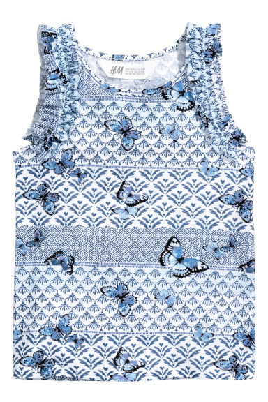 Mouwloze tricot top - Wit/blauw dessin - KINDEREN | H&M BE