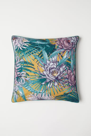 Slub cotton cushion cover - Dark yellow/Patterned - Home All | H&M CN