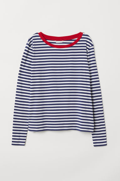 Striped jersey top - Blue/White striped - Ladies | H&M CN