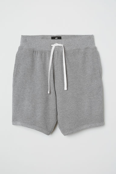 Waffled shorts Regular fit - Grey marl - Men | H&M