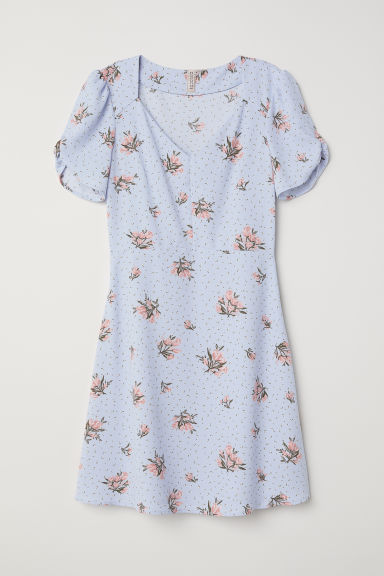 Crêpe dress - Light blue/Floral -  | H&M CN