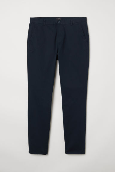 Cotton chinos Slim Fit - Dark blue - Men | H&M CN
