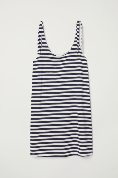 Jersey dress with ties - Dark blue/White striped - Ladies | H&M
