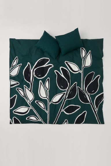 Set copripiumino con stampa - Verde scuro/foglie - HOME | H&M IT