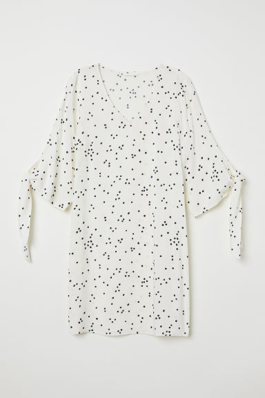 Tie-sleeved dress - White/Spotted - Ladies | H&M