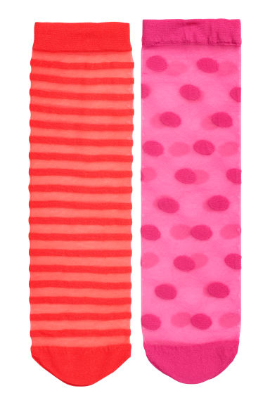2-pack socks 20 denier - Red/Pink - Ladies | H&M