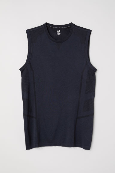 Seamless sports top - Dark blue marl - Men | H&M