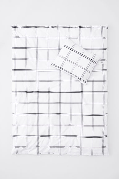 Cotton percale duvet cover set - White/Dark blue checked - Home All | H&M CN