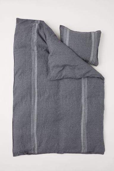 Washed linen duvet cover set - Dark grey marl/Striped - Home All | H&M GB