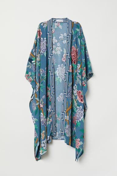 Patterned kimono - Dusky blue/Floral - Ladies | H&M IE