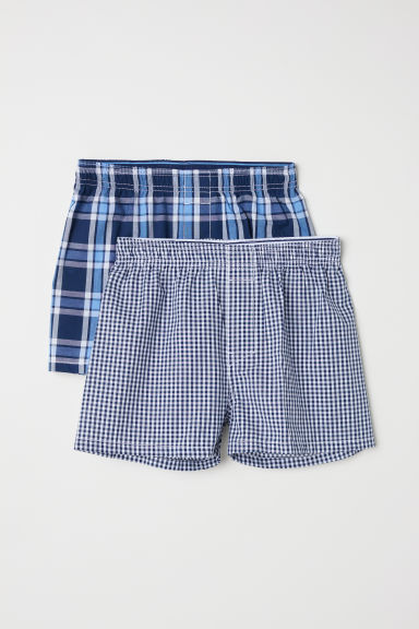2-pack boxer shorts - Dark blue/Checked - Kids | H&M CN