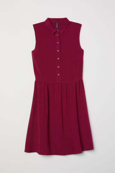 Sleeveless viscose dress - Plum - Ladies | H&M CN