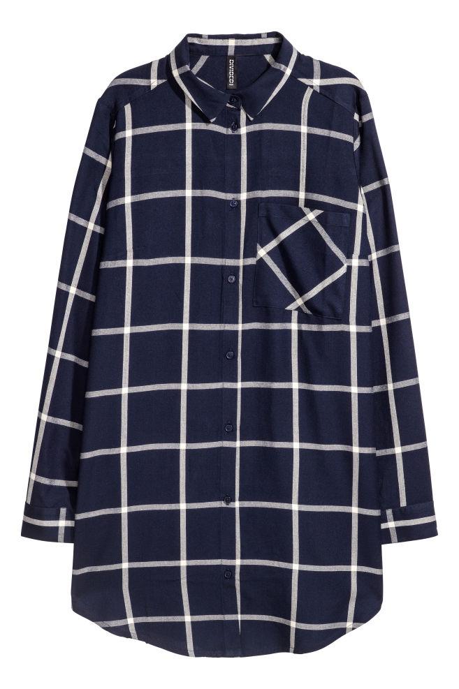 d7311f9cd38e63 Długa koszula z wiskozy - Ciemnoniebieski/Biała krata -   H&M ...