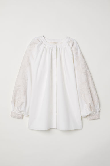 Blouse with embroidery - White - Ladies | H&M GB