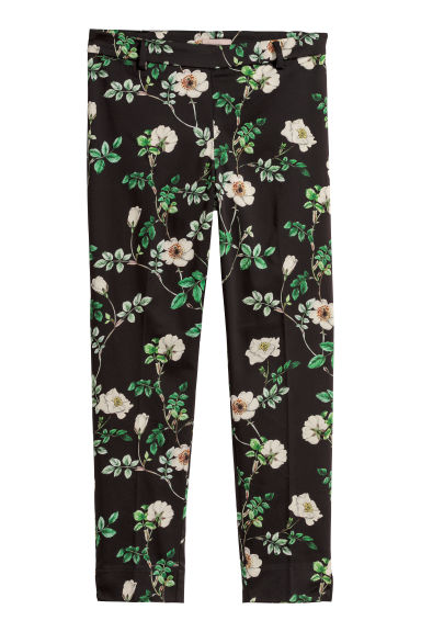 H&M+ Tailored trousers - Black/Floral - Ladies | H&M