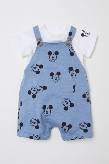 Dungarees and T-shirt - Light blue/Mickey Mouse - Kids | H&M