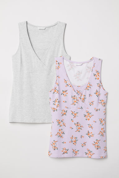 MAMA 2-pack nursing tops - Light purple/Floral - Ladies | H&M