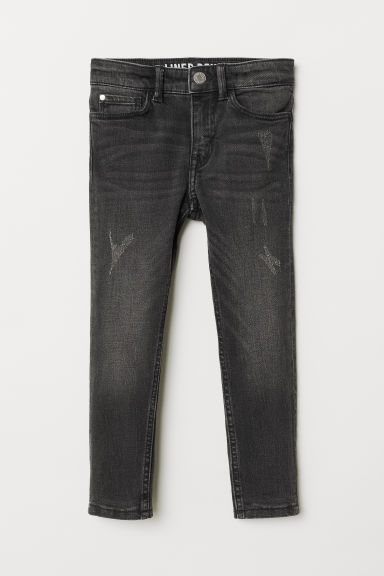 Skinny Fit Lined Jeans - Black denim - Kids | H&M