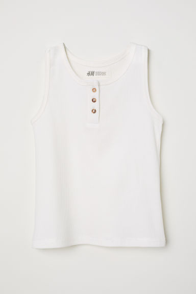 Ribbed vest top with buttons - White - Kids | H&M