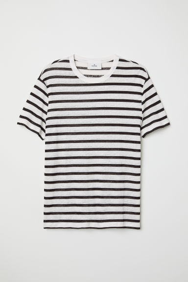Linen T-shirt - White/Black striped - Men | H&M