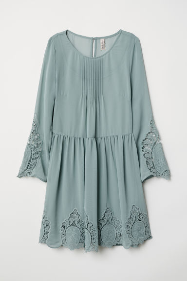 Dress with lace - Dusky green - Ladies | H&M