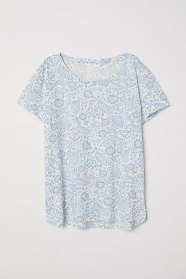Cotton T-shirt - Natural white/Blue floral - Ladies | H&M