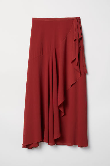 Wrapover skirt - Rust red - Ladies | H&M