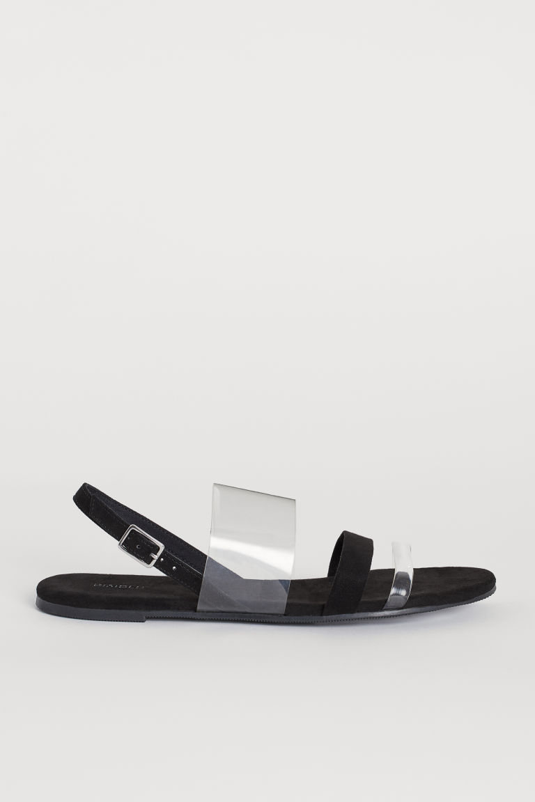 Sandals with Vinyl Straps - Black/transparent -  | H&M CA