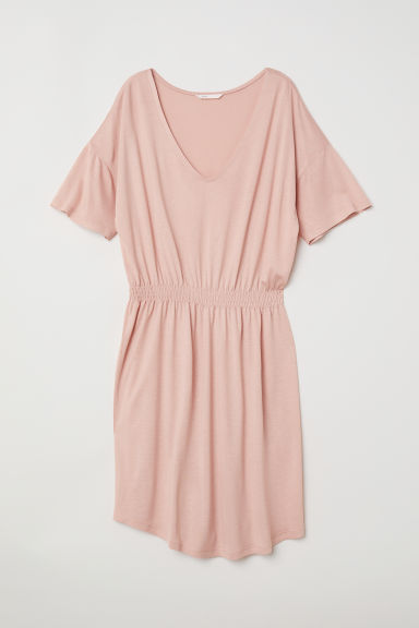 Jersey dress with smocking - Powder pink - Ladies | H&M CN