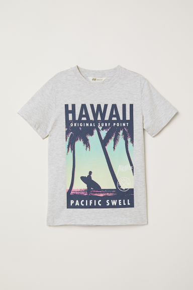 T-shirt con stampa - Grigio mélange/Hawaii - BAMBINO | H&M IT