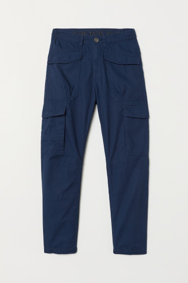 Jersey-lined cargo trousers - Dark blue - Kids | H&M