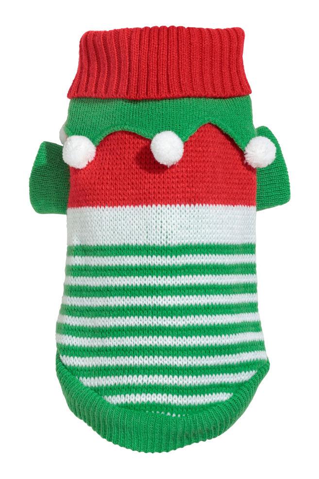 e31d1fb3c417 Jacquard-knit Dog Sweater - Green Christmas elf - Ladies