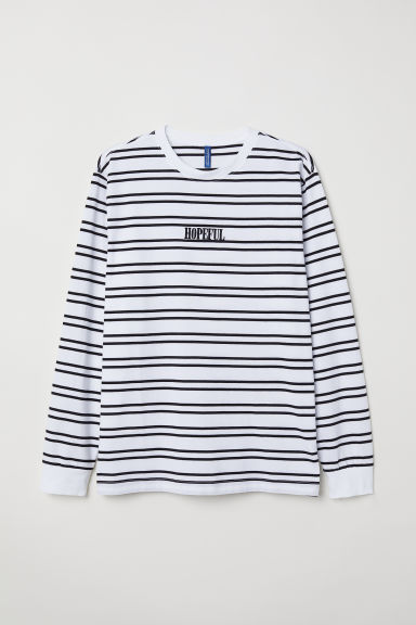 Long-sleeved top - White/Striped - Men | H&M