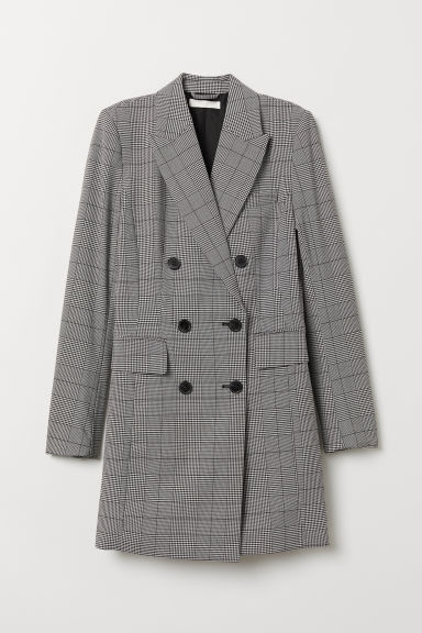 Long jacket - Black/Checked - Ladies | H&M GB