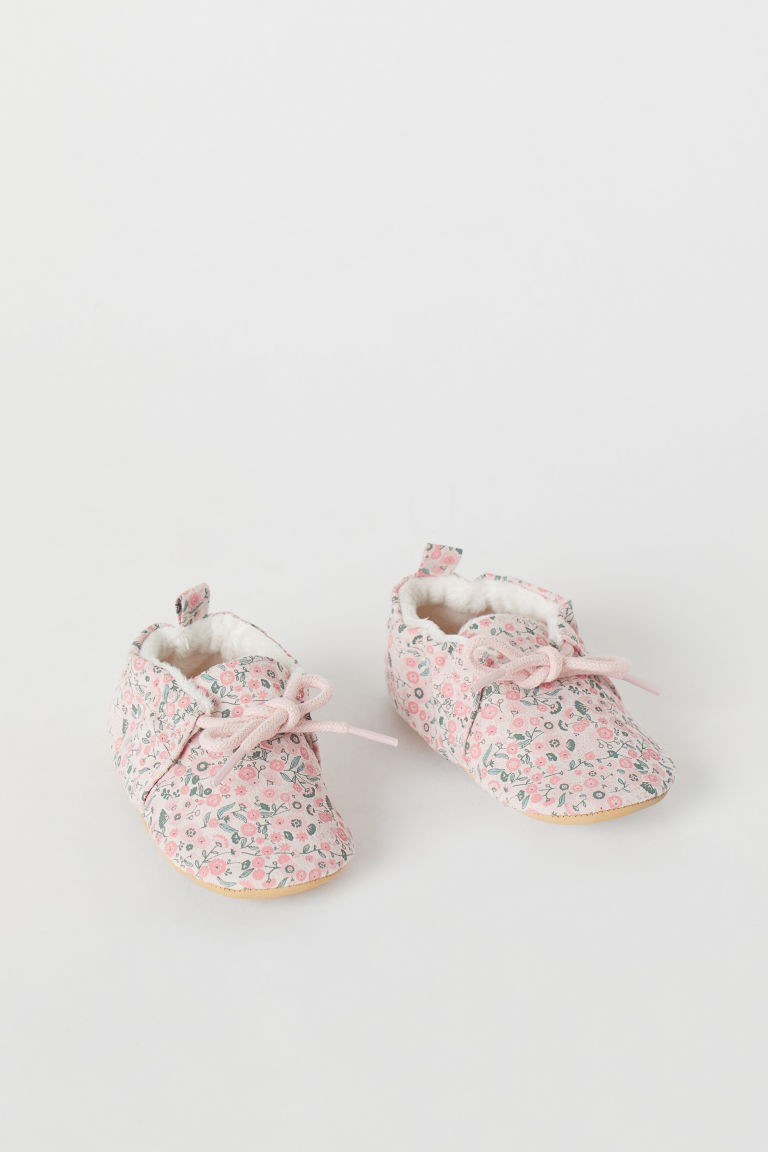 Soft slippers - Light pink/Floral - Kids | H&M CN