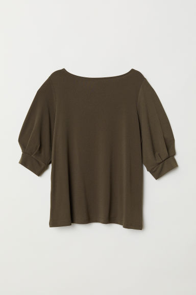 Jersey crêpe top - Dark khaki green - Ladies | H&M