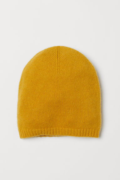 Knitted cashmere hat - Mustard yellow - Ladies | H&M CN