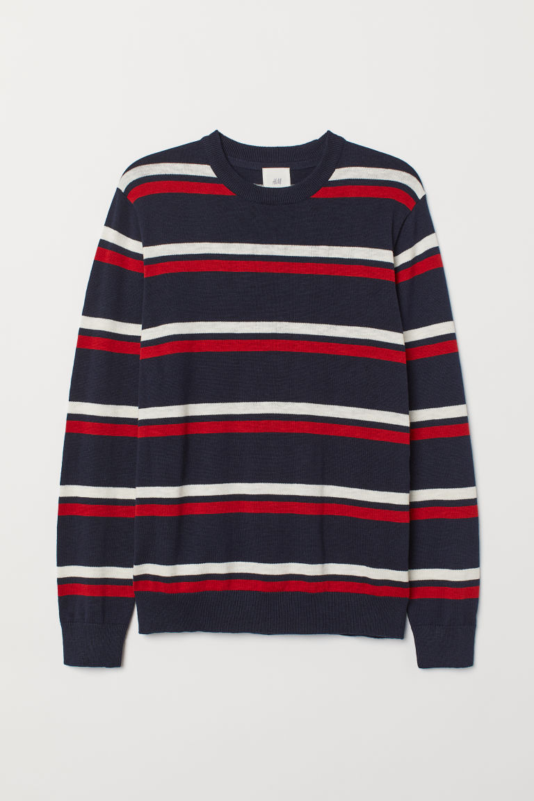 Fine-knit jumper - Dark blue/Red - Men | H&M