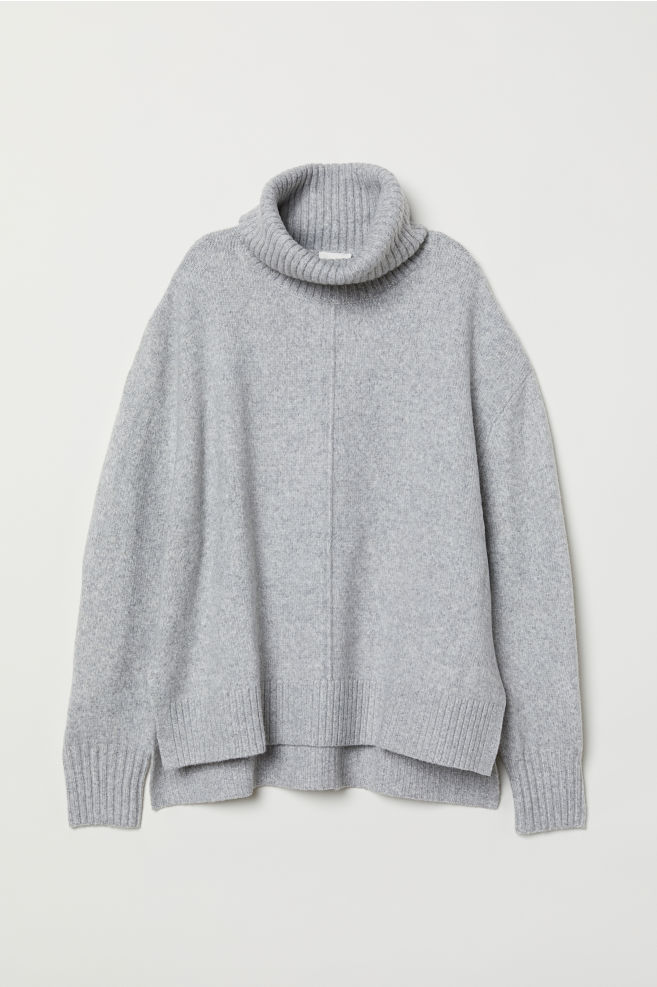 ab8b7e217e Knit Turtleneck Sweater - Light gray melange - Ladies