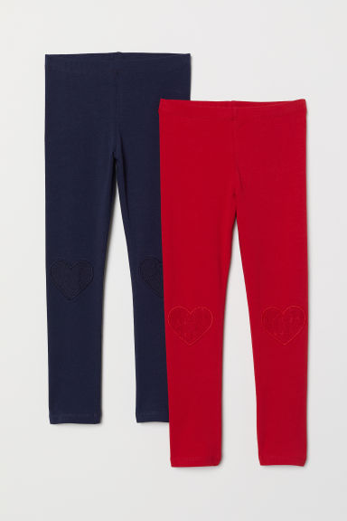 2-pack leggings - Dark blue/Red - Kids | H&M