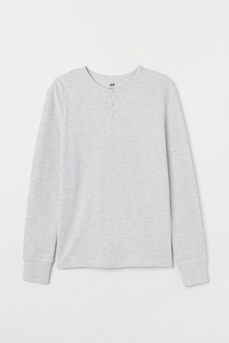 Henley top - Light grey - Men | H&M GB