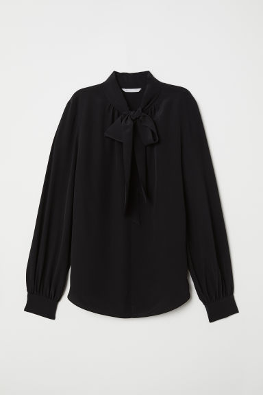 Tie-detail silk blouse - Black - Ladies | H&M