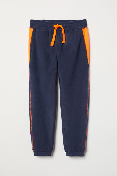 Fleece trousers - Dark blue/Orange - Kids | H&M CN