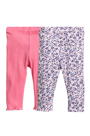 Set van 2 leggings - Wit/bosbessen - KINDEREN | H&M BE
